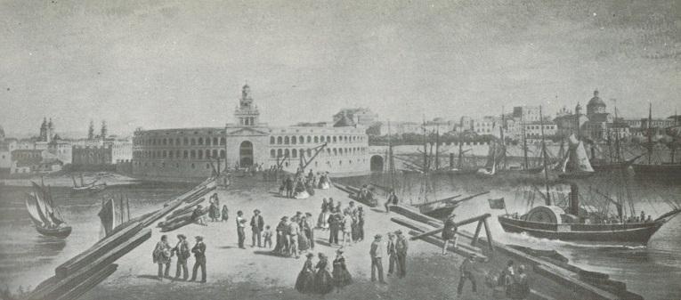 La Aduana Nueva en 1961 fue construida ante la masiva llegada de inmigrantes gallegos e italianos a Buenos Aires.