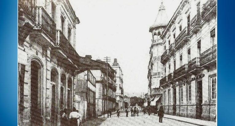 Ourense. Calle del Paseo con el Hotel Miño.