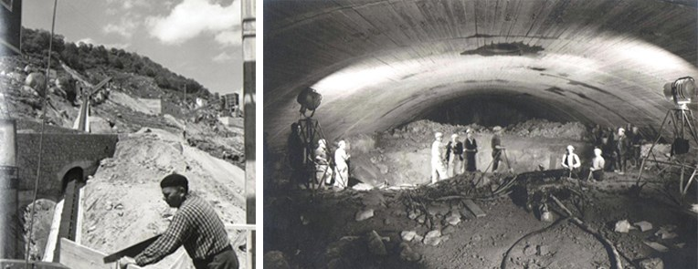 Carpintero y obreros trabajando en el interior del túnel de la central, en una fotografía sacada en abril de 1962.(Archivo Gas Natural/FENOSA)